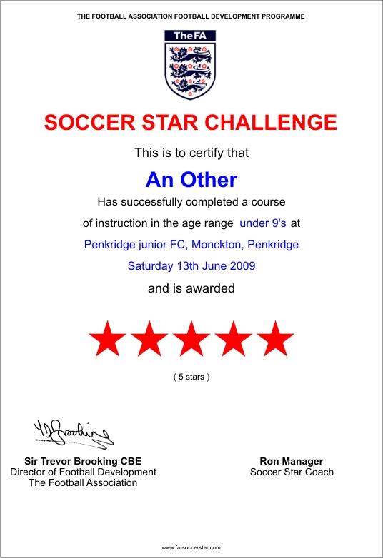 Football Certificates Templates Mandegarfo